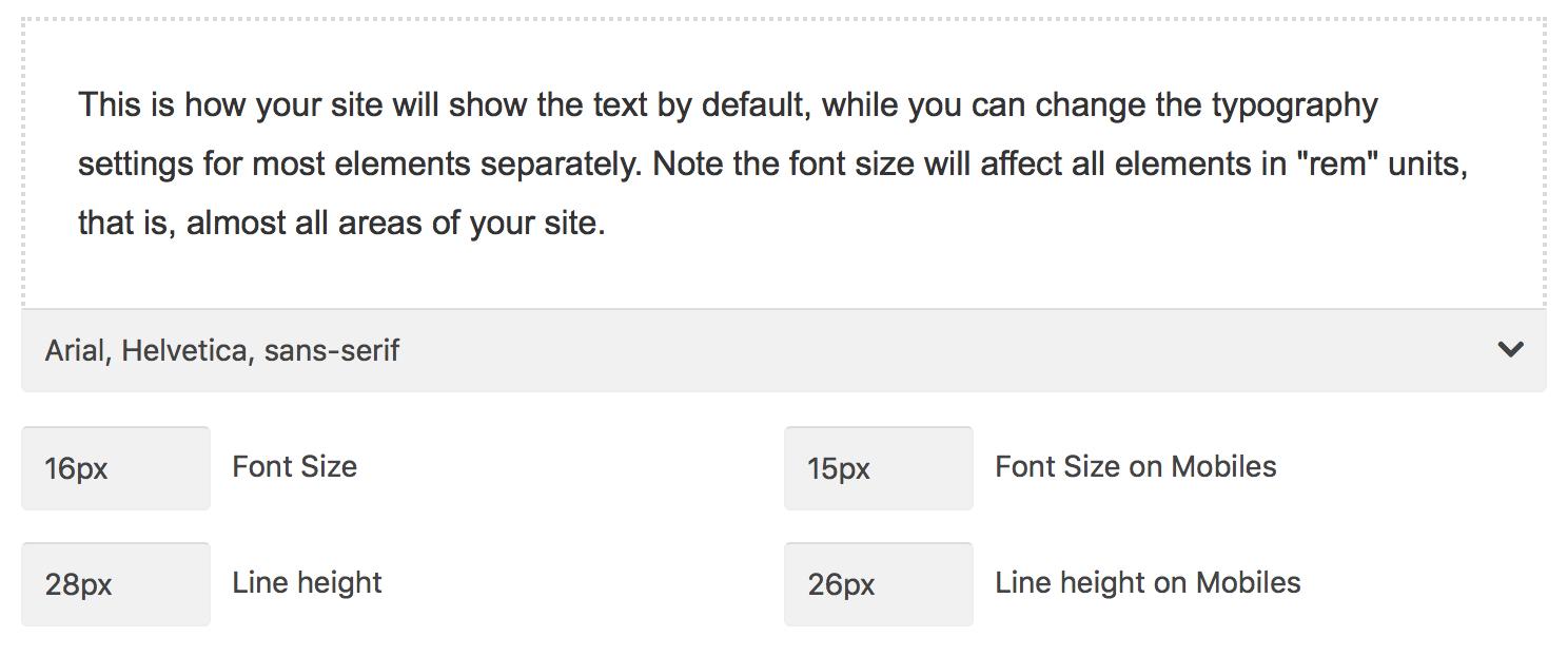 Typography Options - Impreza Knowledge Base